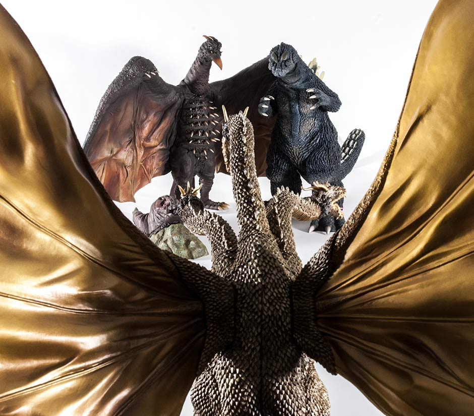 The kaiju cast of Ghidorah: The Three Headed Monsters with X-Plus figures.