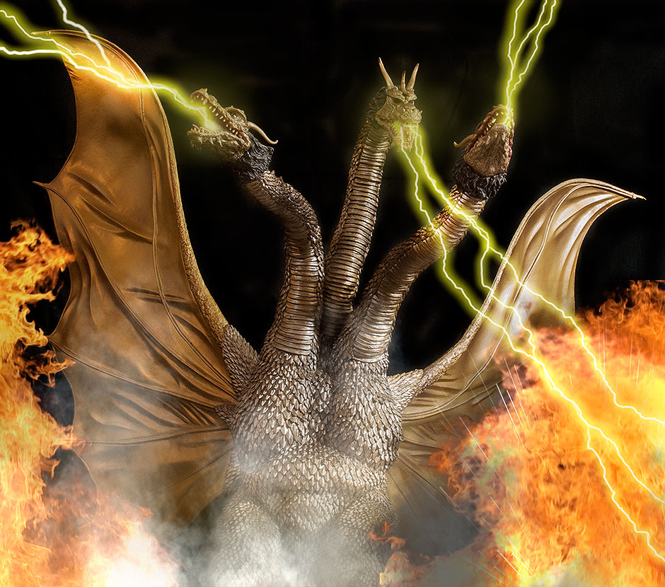 X-Plus King Ghidorah with Photoshopped explosions and gravity beams.