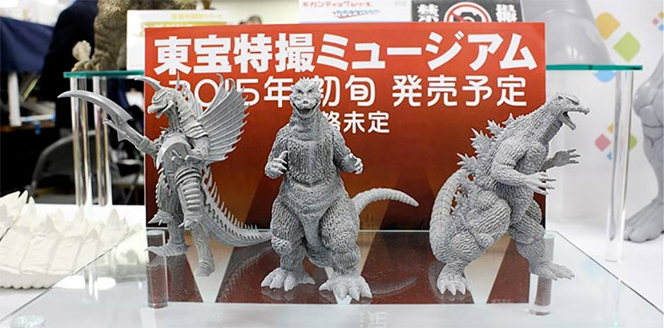 New Godzilla Kaiju Museum mini polystone line from X-Plus on display at the Miyazawa Model Exhibition.