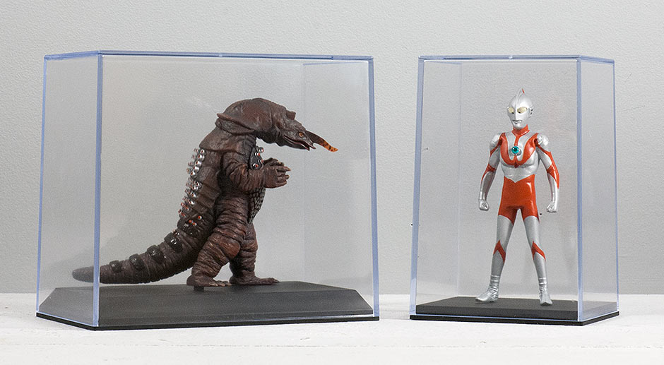 X-Plus Monster Museum Figurines in Display Cases.