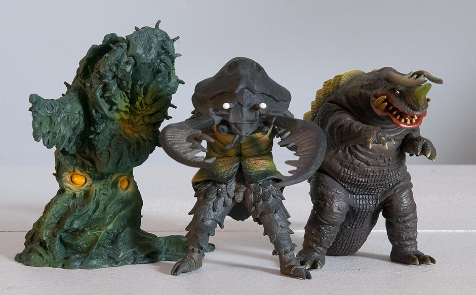 X-Plus Kaiju Museum Greenmons, Antlar and Neronga.