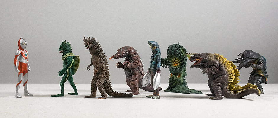 A selection of X-Plus Monster Museum Ultraman and Ultra kaiju figurines.