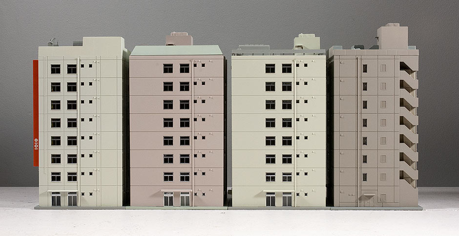 Four N Scale Kato Buildings, rear view.