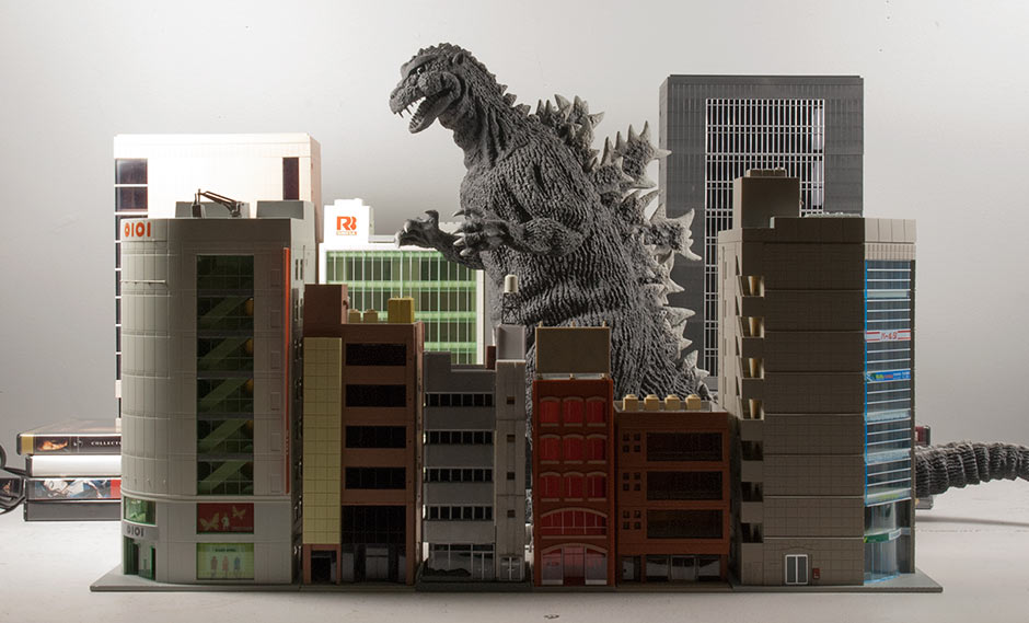 X-Plus 30cm Series Godzilla 1954 stomping through a set of N-Scale buildings.