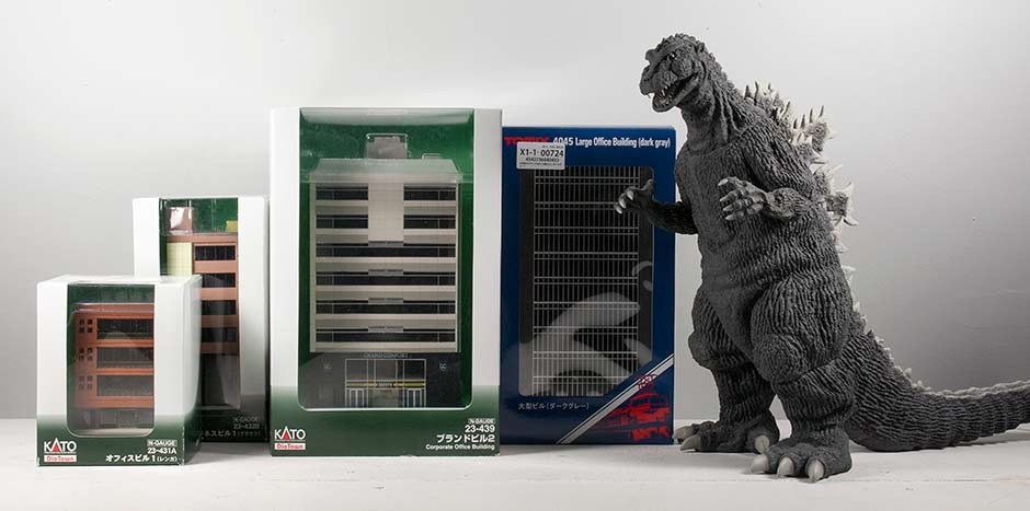 X-Plus 30cm Series Godzilla 1954 with boxed N-Scale buildings.