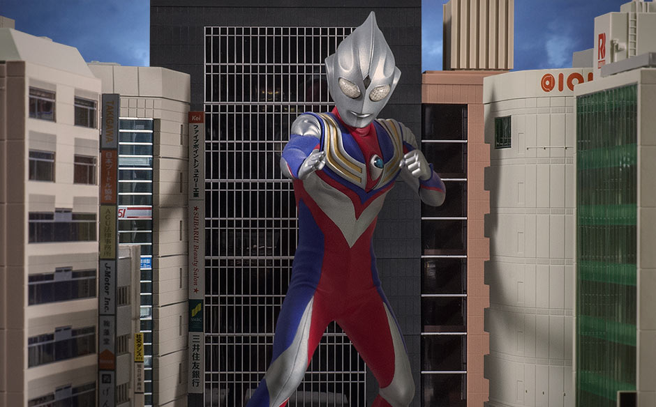 X-Plus Ultraman Tiga with N Scale building backdrop.