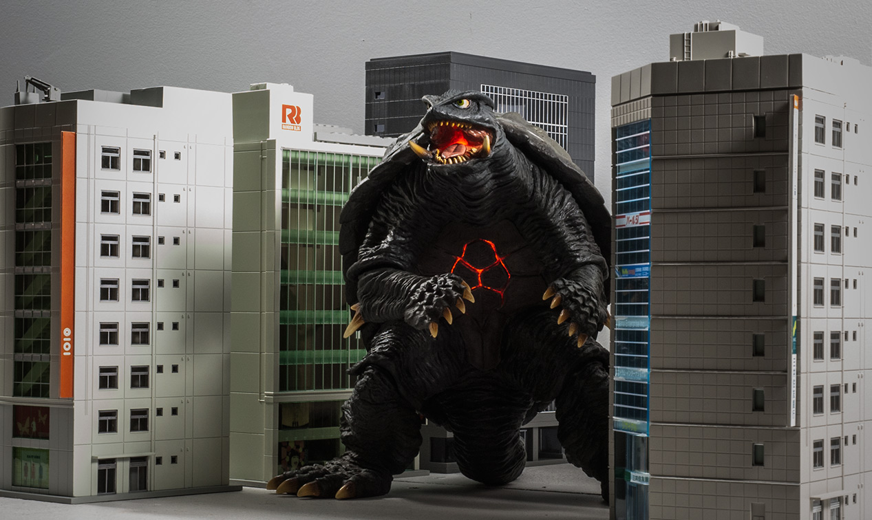 25cm Gamera 1996 with N Scale buildings.
