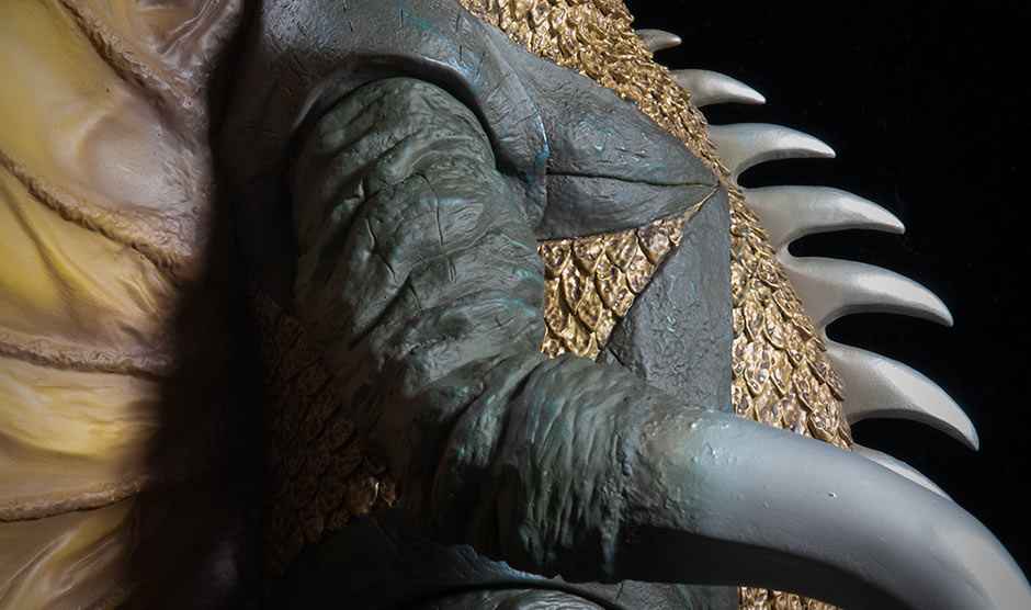 Close-up of Gigan's arm, scale and fins sculpting detail.