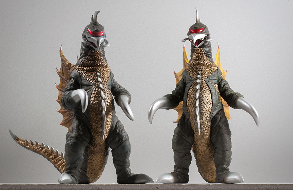 Forced perspective shot of the X-Plus Large Monster Series and 30cm Series versions of Gigan 1972 vinyl figures.