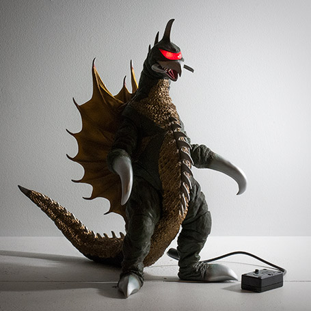 X-Plus 30cm Series Gigan vinyl with light-up visor and battery box.