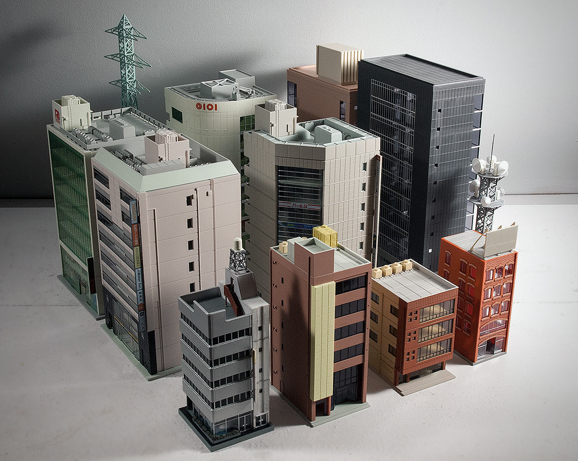Toy Model Buildings : Creating stomping grounds for plus with n scale buildings