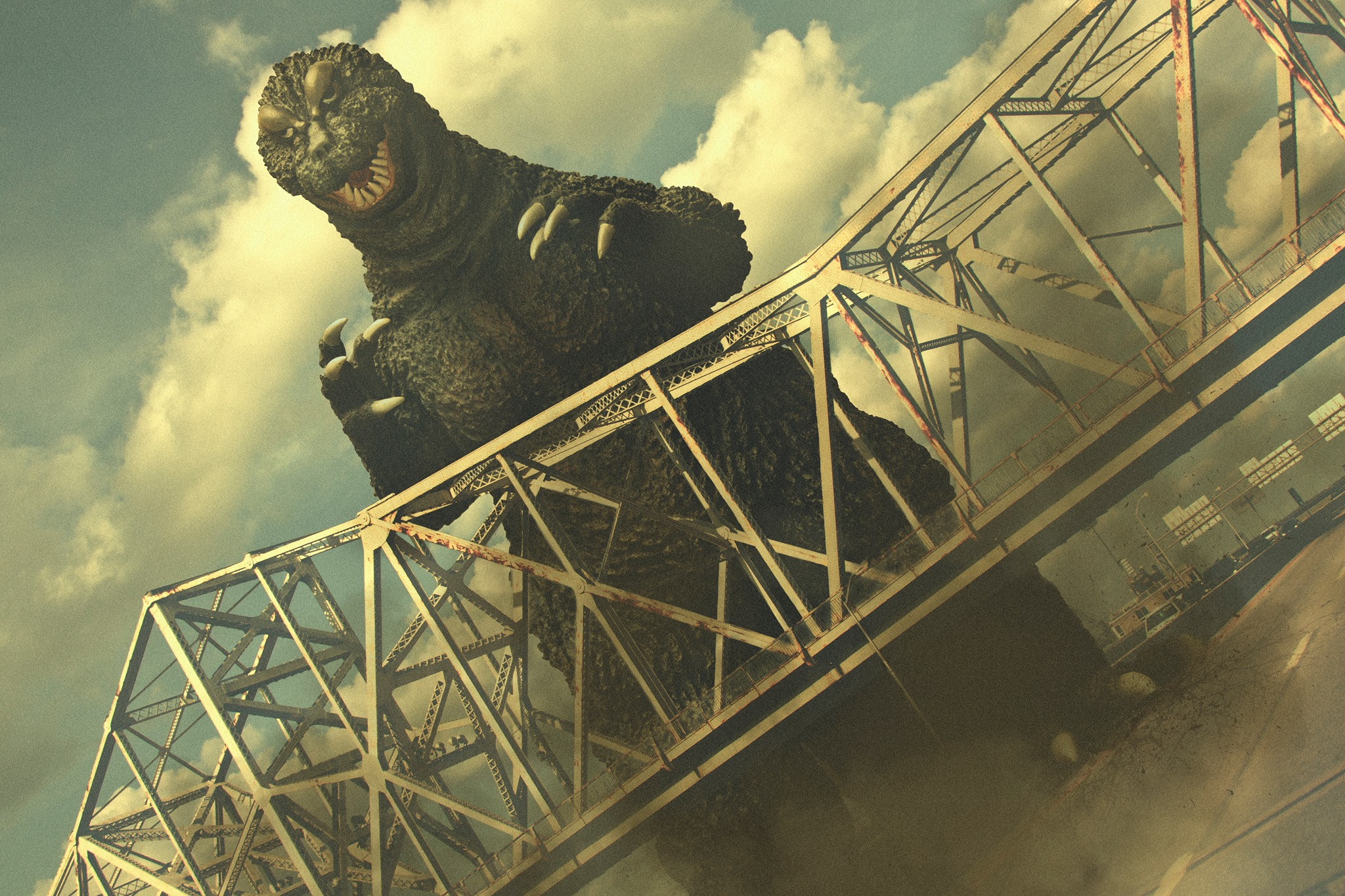 Photo composite of an X-Plus Godzilla 1964 with a real world bridge by Stephen Robert Staley.