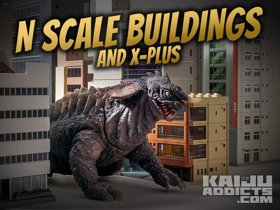 N Scale Buildings and X-Plus promo graphic.