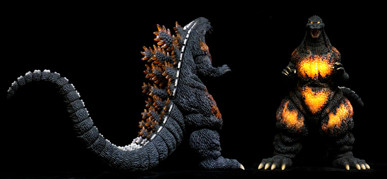 Additional angles on the new X-Plus Godzilla 1995, including a view of the light gimmick in action.