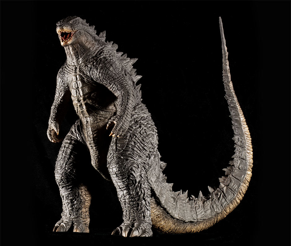 Forward three-quarter view of the X-Plus 30cm Series Godzilla 2014 vinyl figure.