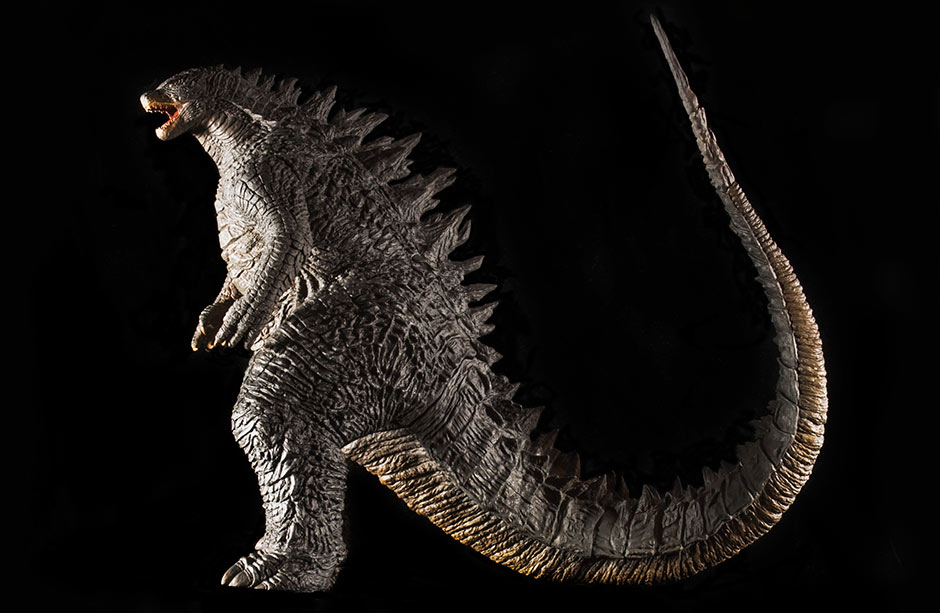 Side view of the X-Plus Toho 30cm Series Godzilla 2014 vinyl figure.
