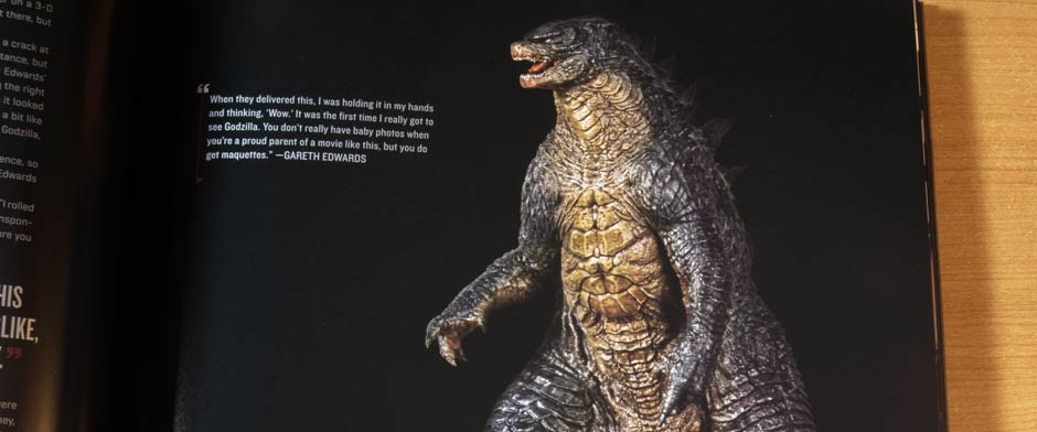 A shot of the original Godzilla 2014 maquette from the book Godzilla The Art of Destruction.