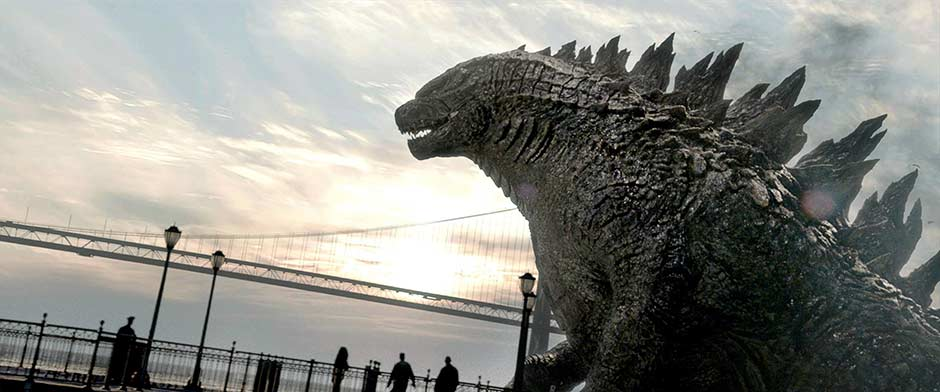 A scene featuring Godzilla from the film.