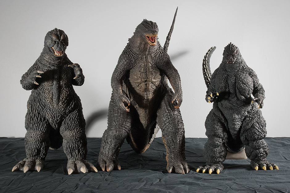 Size comparison between X-Plus Godzilla 2014, Godzilla 1964 and Godzilla 1991.
