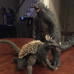 Photo of the X-Plus Godzilla 2014 with the X-Plus 30cm Series Anguirus 1968 by collector/reviewer Mark Callaway.