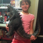 Calleigh with Uncle Ryan Bullard's X-Plus Godzilla 2014.