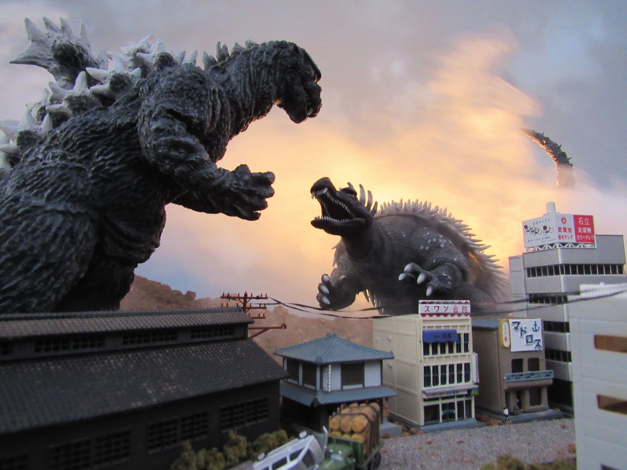 X-Plus Godzilla and Anguirus 1955 diorama shot by Steve Harron.