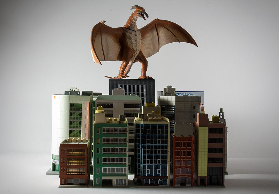Diamond Select Rodan Bank with N-Scale buildings.