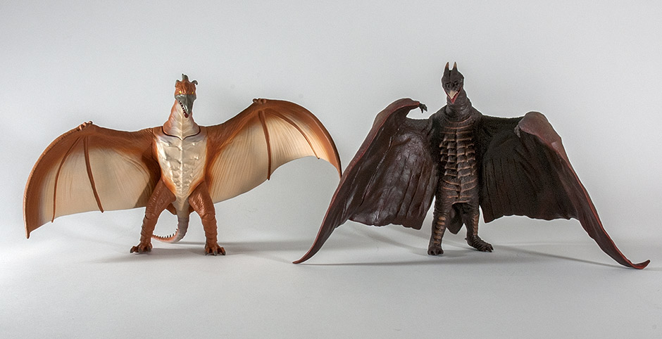 Size comparison with the X-Plus Large Monster Series Rodan 1956.