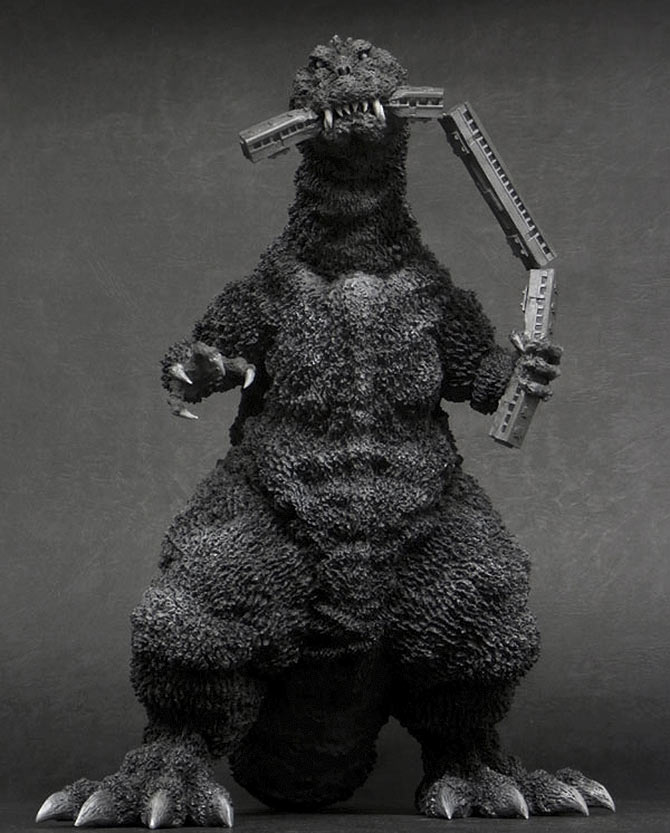 "Front view of the Toho 30cm Series Godzilla 1954 ""Train Biter"" Monochrome Version vinyl figure."