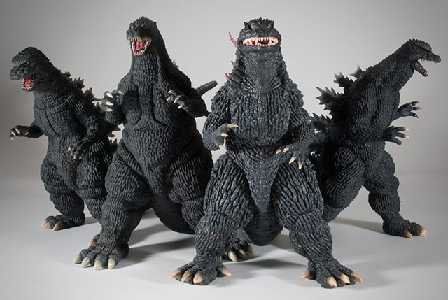X-Plus Godzilla 1984, 1992, 2000 and 2004.