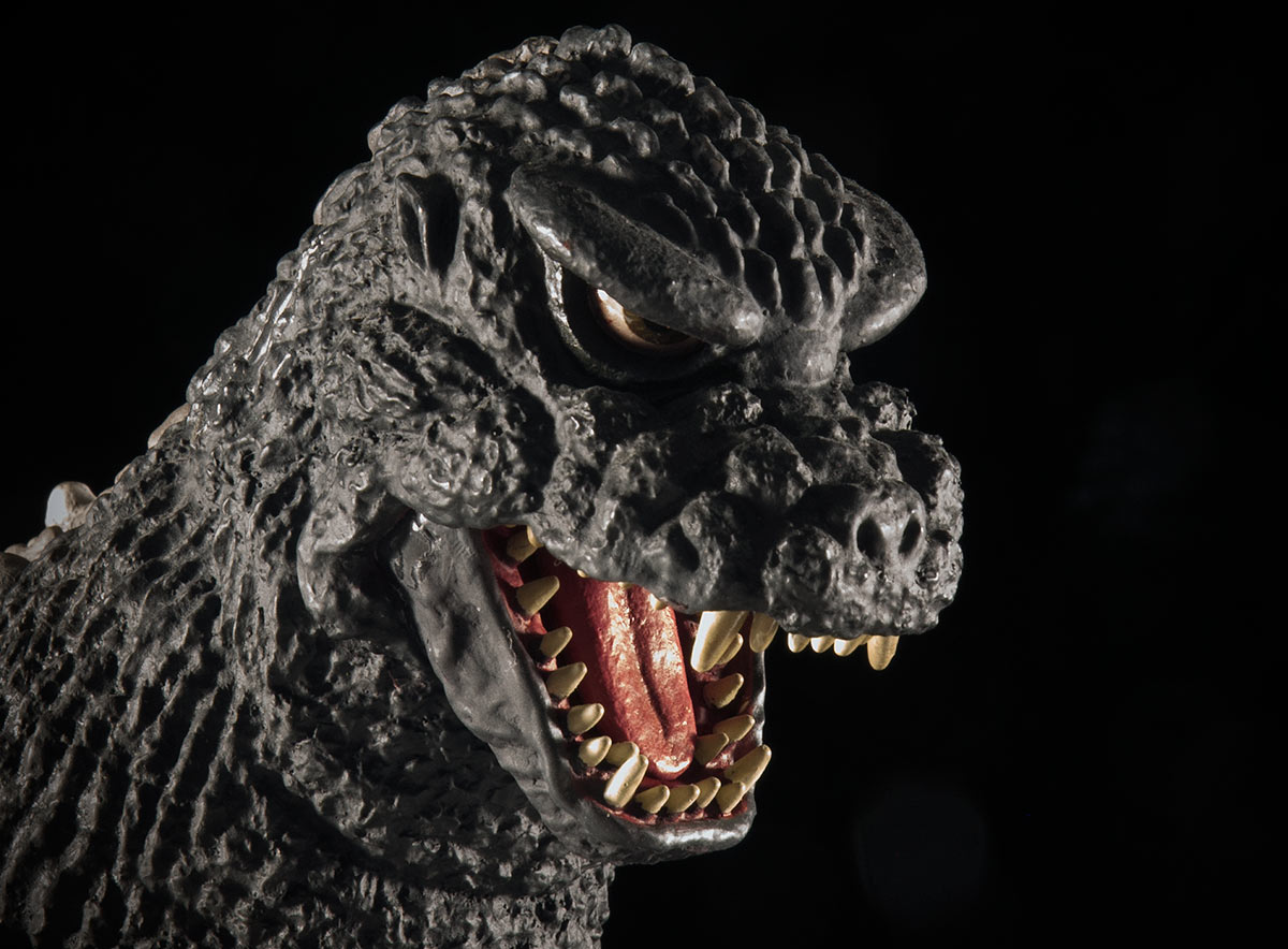 Close-up of the Godzilla 1984 vinyl figure by X-Plus.