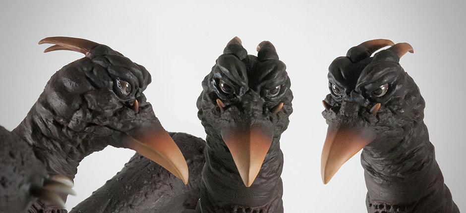 Close-up angles of the X-Plus Rodan's head sculpt.