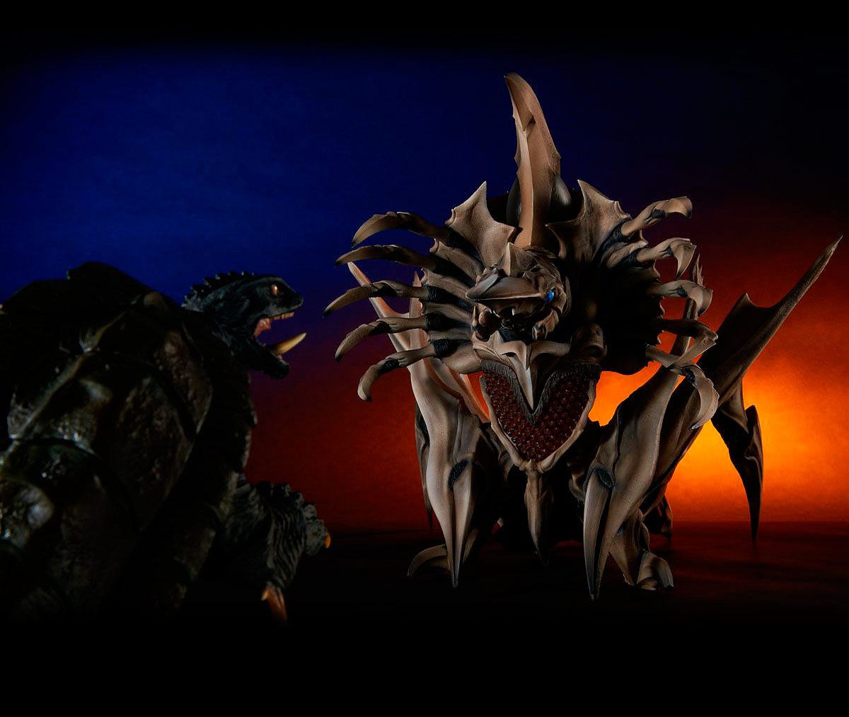 Dramatic image of X-Plus Gamera 1996 and Legion.