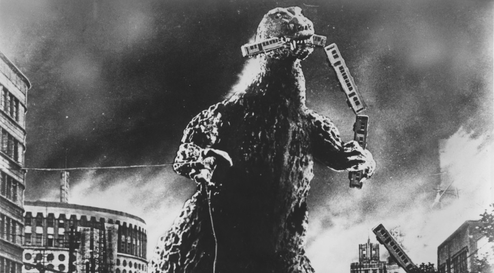 Touched up publicity still from Godzilla (1954).