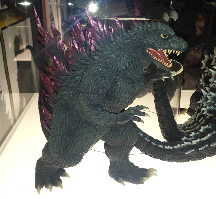 Godzilla 12in Series Godzilla 2000: Millennium vinyl figure on display at SDCC.