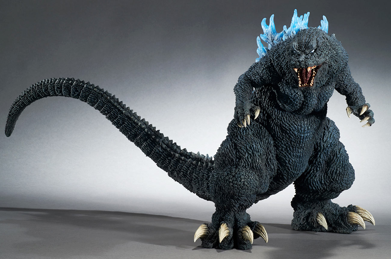 Gigantic Godzilla 2001 Blue Dorsal Fin Version figure by X-Plus.