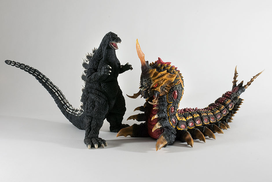 X-Plus 30cm Series Godzilla 1992 and 30cm Series Battra Larva vinyl figures.