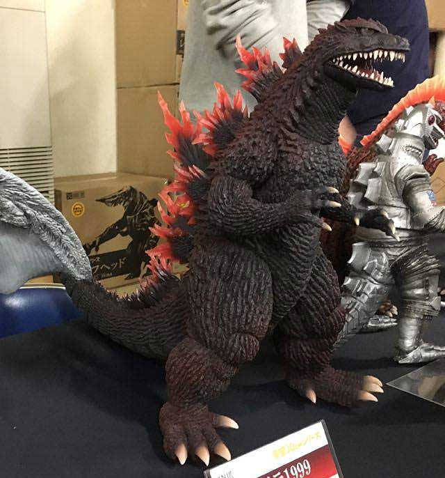 Toho 30cm Series Godzilla 1999 Orange Fin Variant on display at Super Festival 73 in Tokyo.