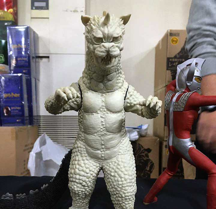 Prototype of the Large Monster Series Gabara vinyl figure from X-Plus on display at Super Festival 73 in Tokyo.