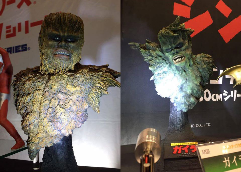 Upcoming Sanda and Gaira Gargantuas busts from X-Plus on display at Wonder Festival.