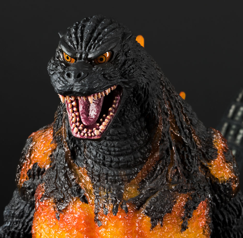 A close-up of the head and shoulders on the X-Plus 30cm Series Godzilla 1995.