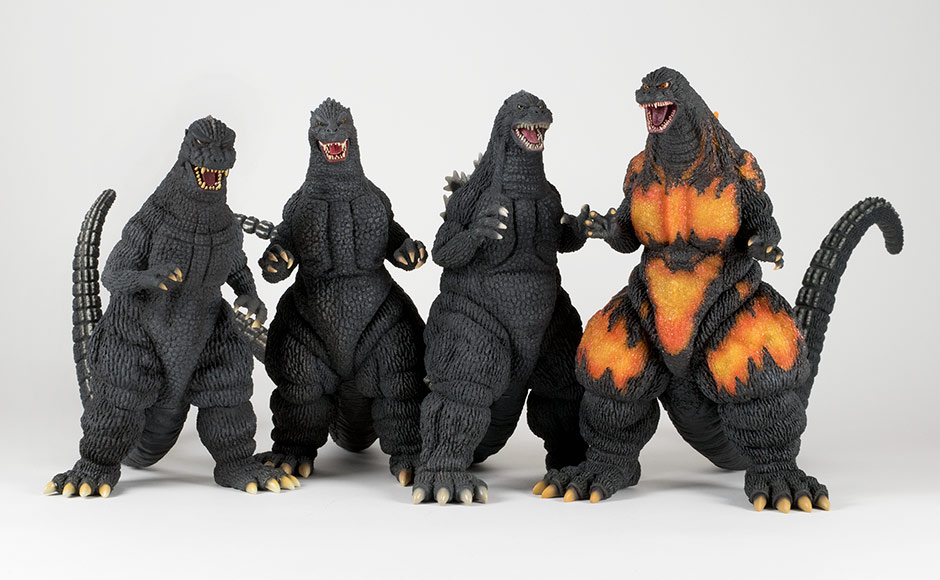 Size comparison with other original X-Plus Heisei Godzilla sculpts.