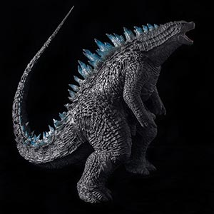 X-Plus Toho 30cm Series Godzilla 2014 with roaring head and blue fins.