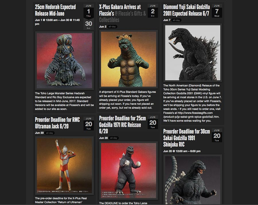 Kaiju Addicts Release Calendar.