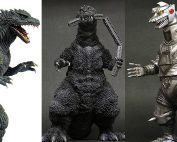 X-Plus Godzilla 2000 Version2, Godzilla 1954 Train Biter and Mechagodzilla 1975 vinyl figures.