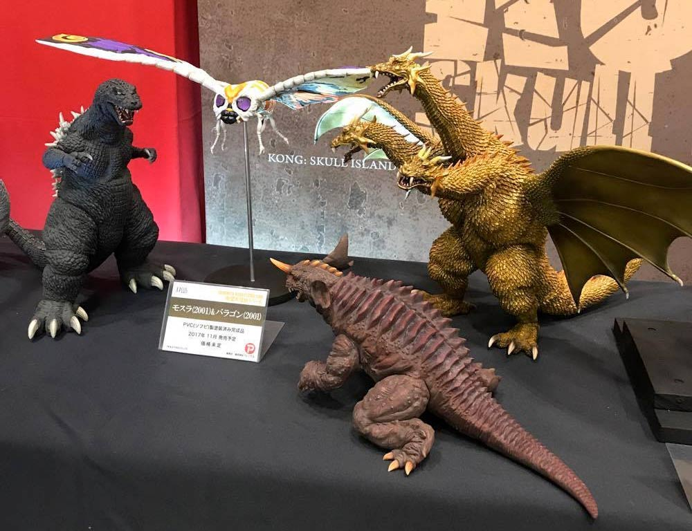 X-Plus Large Monster Series Godzilla 2001, King Ghidorah, Baragon and Mothra vinyl figures.