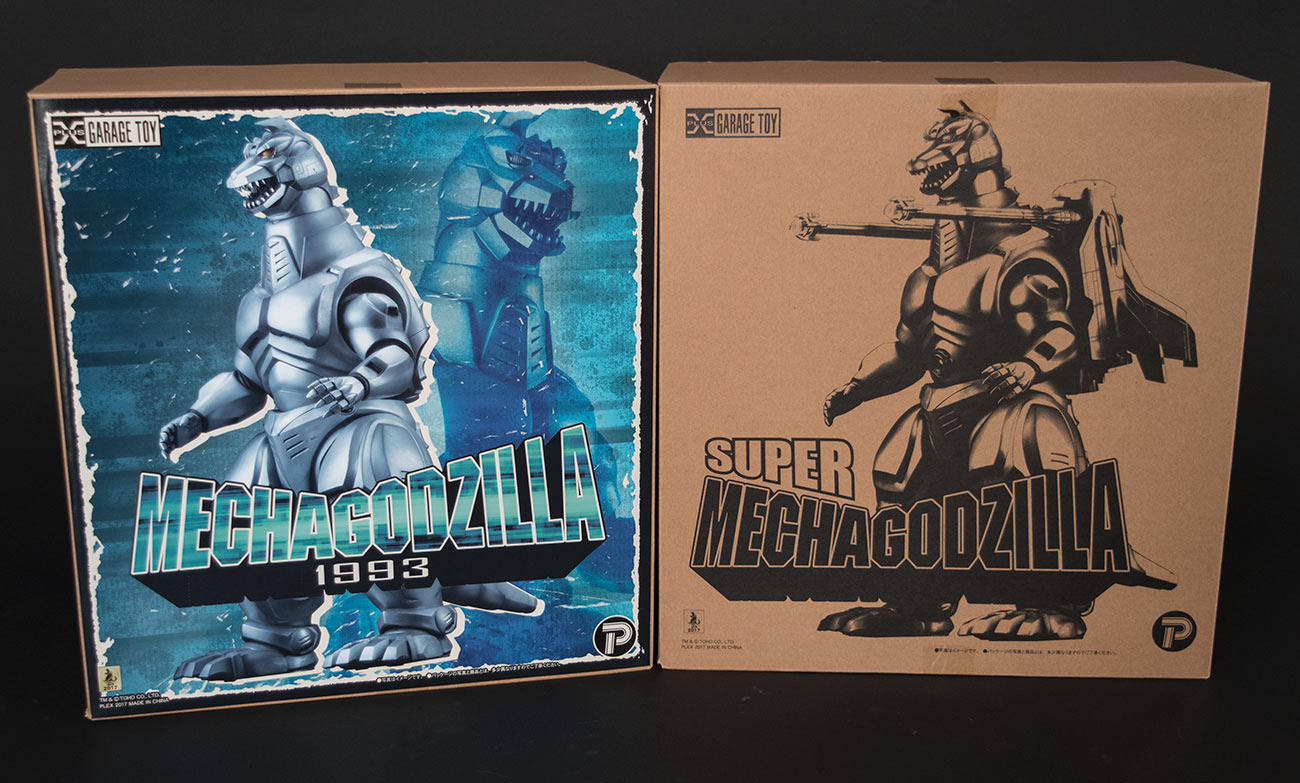 The boxes for the X-Plus Mechagodzilla 2 standard and RIC versions.