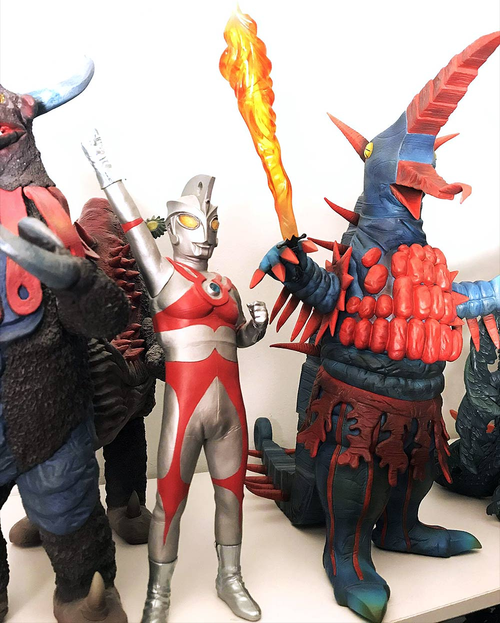 The X-Plus Firemons vinyl figure beside the X-Plus Ultraman Ace. Photo by Vince Elliot.