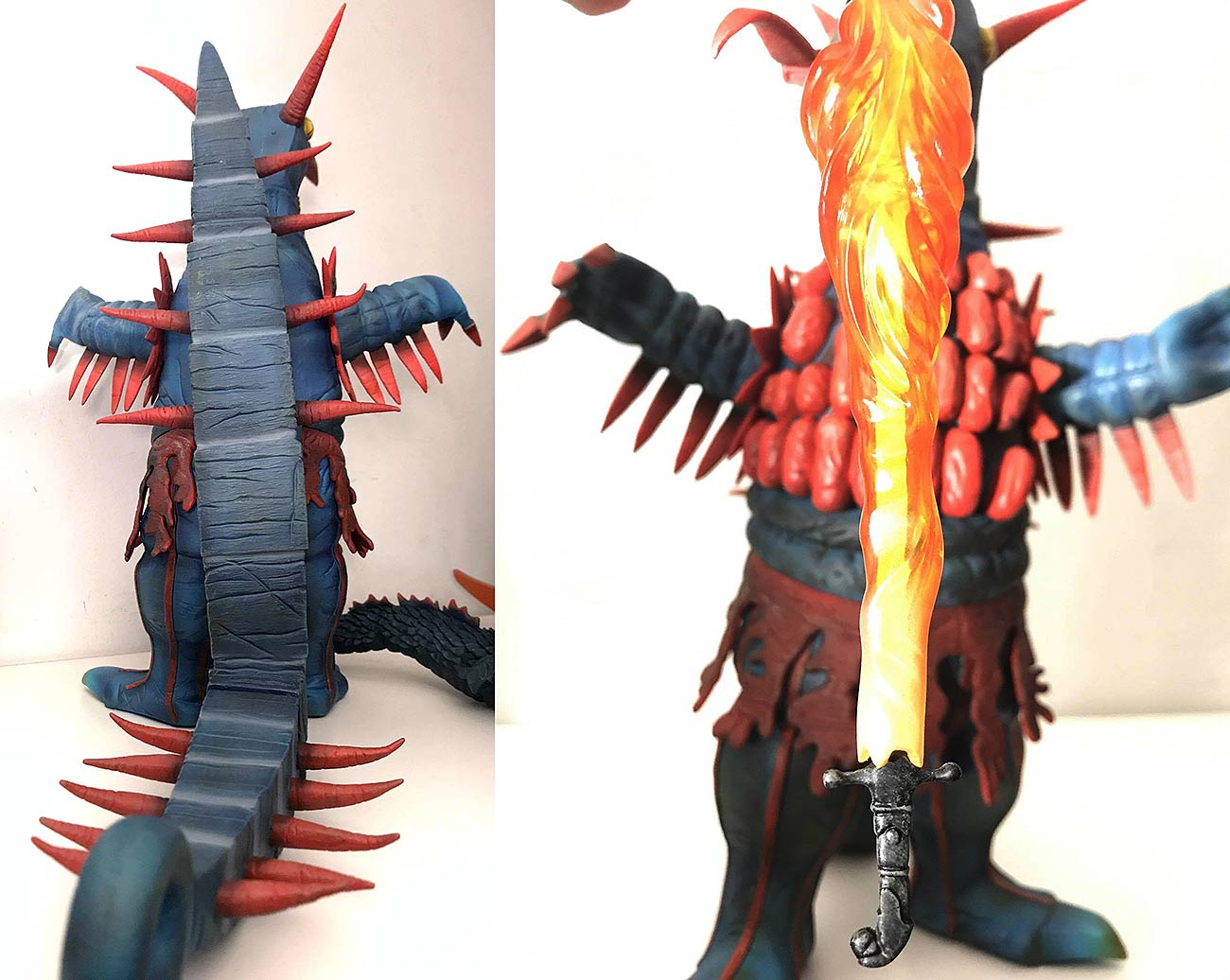 Rear view of the X-Plus Firemons figure and a close up of his fire sword. Photos by Vince Elliot.