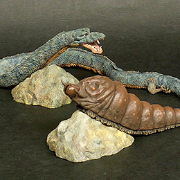 Toho Large Monster Series Mothra Larva and Manda 1968 vinyl figure set.